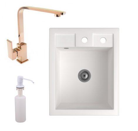 Gránit Mosogató NERO Parma + Design Rose-Gold csaptelep + adagoló + szifon (fehér)