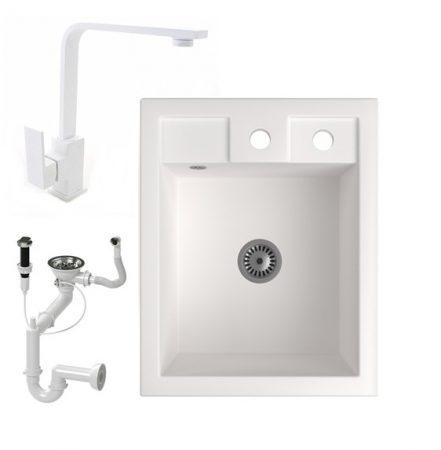 Gránit Mosogató NERO Parma + Design csaptelep + dugóemelő + szifon (fehér)