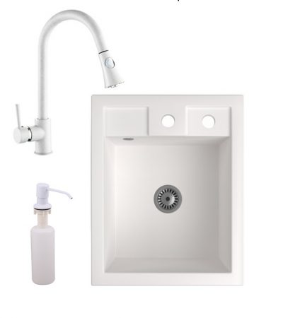 Gránit Mosogató NERO Parma + kihúzható zuhanyfejes Snake csaptelep + adagoló + szifon (fehér)