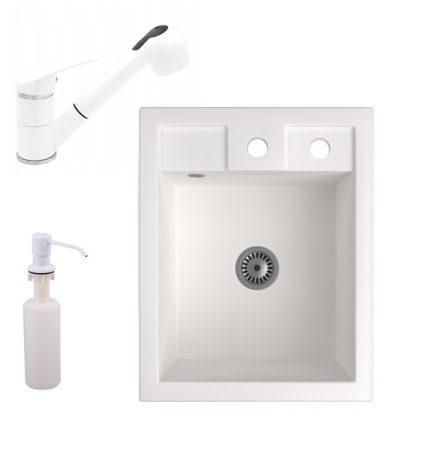 Gránit Mosogató NERO Parma + kihúzható zuhanyfejes Shower csaptelep + adagoló + szifon (fehér)