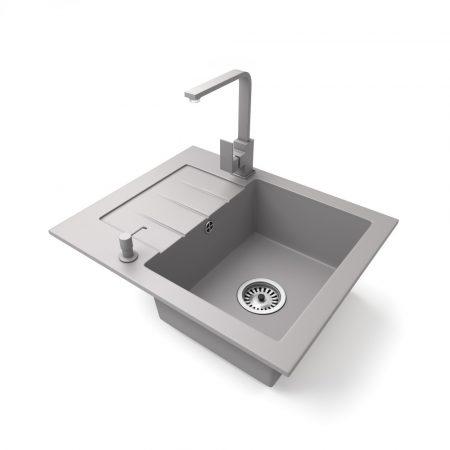 Gránit mosogatótálca NERO Monza + Design csaptelep + adagoló (szürke)