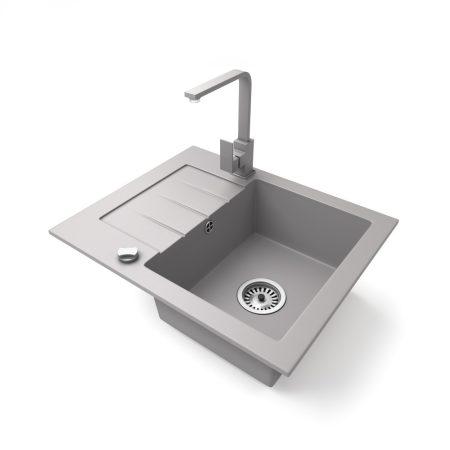 Gránit mosogatótálca NERO Monza + Design csaptelep + dugókiemelő (szürke)