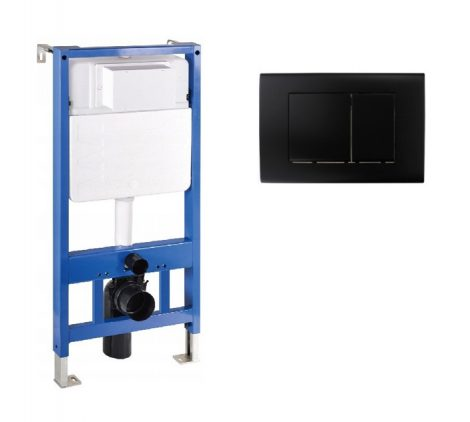 Mexen Fenix Slim beépíthető WC tartály + Fenix-02 fekete nyomólap (60100-600103)