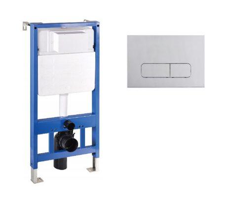 Mexen Fenix Slim beépíthető WC tartály + Fenix-02 matt króm nyomólap (60100-600202)