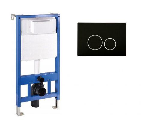 Mexen Fenix Slim beépíthető WC tartály + Fenix-02 fekete nyomólap (60100-600503)