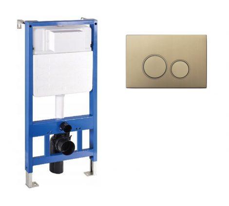 Mexen Fenix Slim beépíthető WC tartály + Fenix-02 arany nyomólap (60100-600504)
