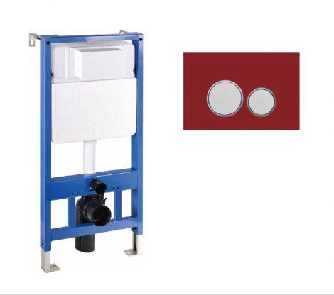 Mexen Fenix Slim beépíthető WC tartály + Fenix-02 piros üveg nyomólap (60100-600627)