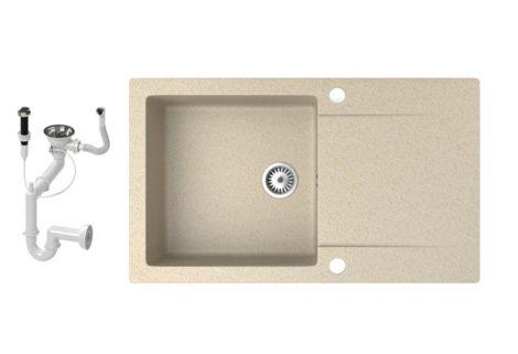Gránit mosogató NERO Gold + dugókiemelő (bézs)