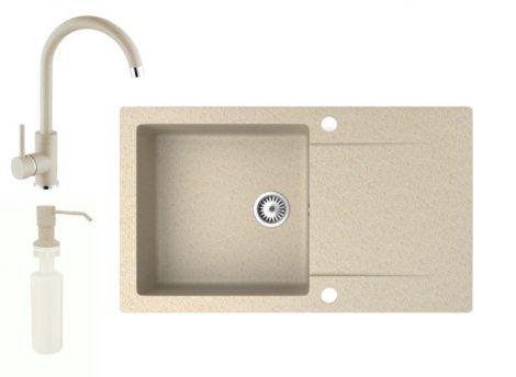 Gránit mosogató NERO Gold + magasított csaptelep + adagoló (bézs)