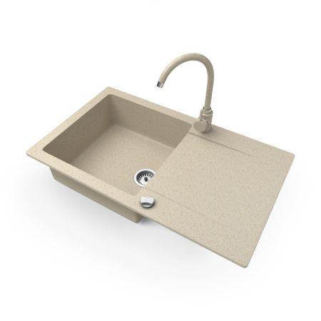 Gránit mosogató NERO Gold + magasított csaptelep + dugókiemelő (bézs)