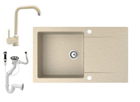 Gránit mosogató NERO Gold + Steel csaptelep + dugókiemelő (bézs)