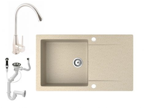 Gránit mosogató NERO Gold + Inox-Line csaptelep + dugókiemelő (bézs)