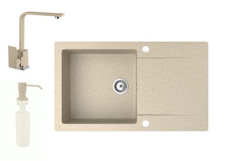 Gránit mosogató NERO Gold + Design csaptelep + adagoló (bézs)