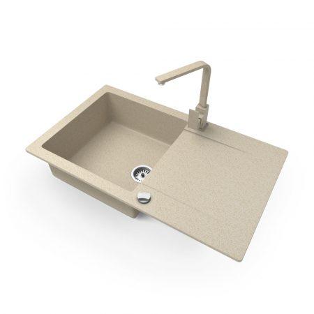 Gránit mosogató NERO Gold + Design csaptelep + dugókiemelő (bézs)