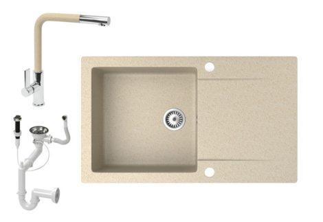 Gránit mosogató NERO Gold + kihúzható Linea csaptelep + dugókiemelő (bézs)