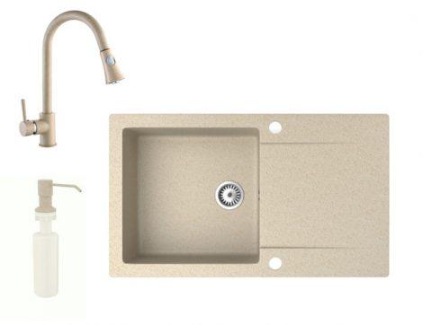 Gránit mosogató NERO Gold + kihúzható zuhanyfejes Snake csaptelep + adagoló (bézs)