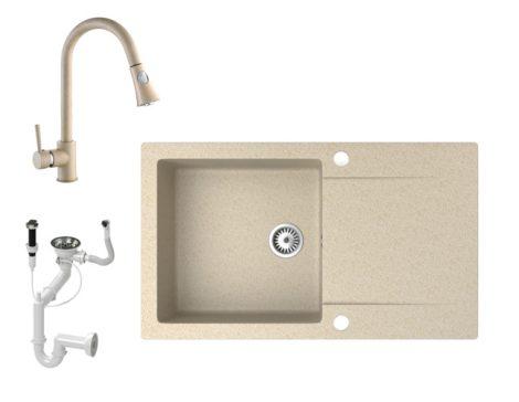 Gránit mosogató NERO Gold + kihúzható zuhanyfejes Snake csaptelep + dugókiemelő (bézs)