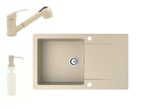 Gránit mosogató NERO Gold + kihúzható zuhanyfejes Shower csaptelep + adagoló (bézs)