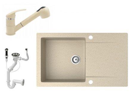 Gránit mosogató NERO Gold + kihúzható zuhanyfejes Shower csaptelep + dugókiemelő (bézs)