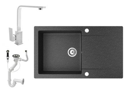 Gránit mosogató NERO Gold + Design króm csaptelep + dugókiemelő (fekete)