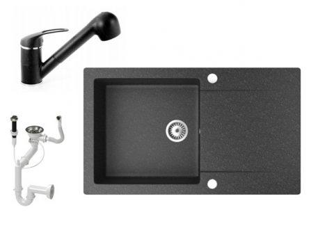 Gránit mosogató NERO Gold + kihúzható zuhanyfejes Shower csaptelep + dugókiemelő (fekete)