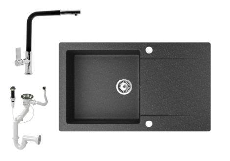 Gránit mosogató NERO Gold + kihúzható Linea csaptelep + dugókiemelő (fekete)