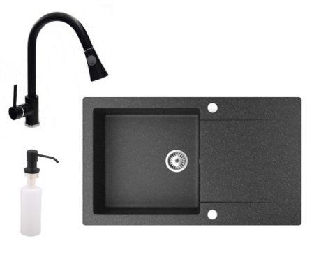 Gránit mosogató NERO Gold + kihúzható zuhanyfejes Snake csaptelep + adagoló (fekete)