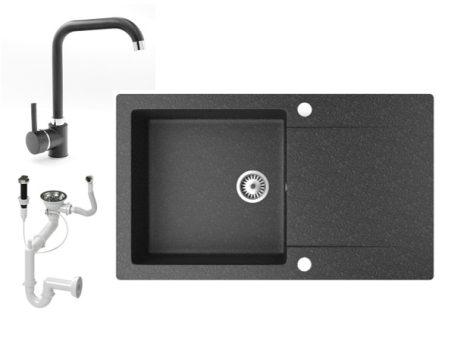 Gránit mosogató NERO Gold + Steel csaptelep + dugókiemelő (fekete)