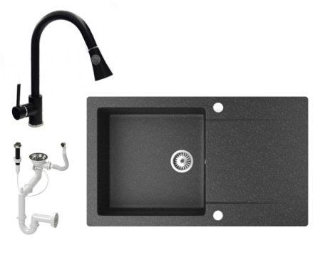 Gránit mosogató NERO Gold + kihúzható zuhanyfejes Snake csaptelep + dugókiemelő (fekete)