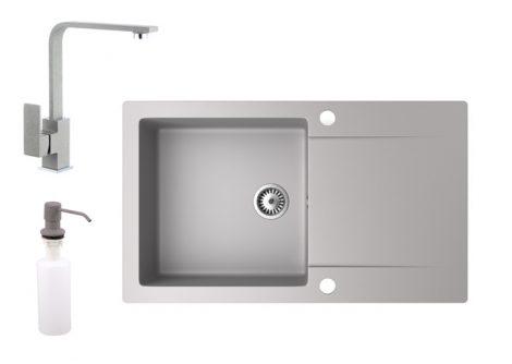 Gránit mosogató NERO Gold + Design csaptelep + adagoló (szürke)