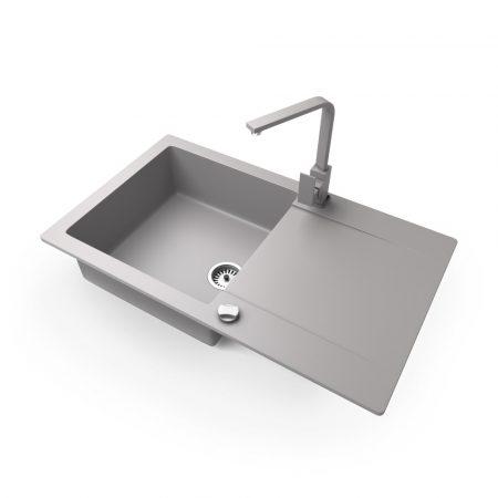 Gránit mosogató NERO Gold + Design csaptelep + dugókiemelő (szürke)