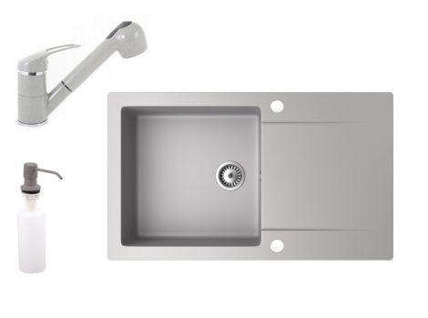 Gránit mosogató NERO Gold + kihúzható zuhanyfejes Shower csaptelep + adagoló (szürke)