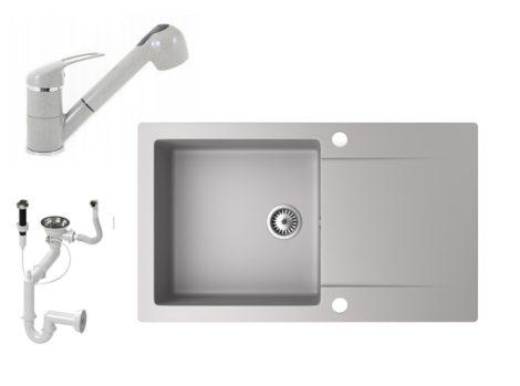 Gránit mosogató NERO Gold + kihúzható zuhanyfejes Shower csaptelep + dugókiemelő (szürke)
