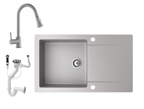 Gránit mosogató NERO Gold + kihúzható zuhanyfejes Snake csaptelep + dugókiemelő (szürke)