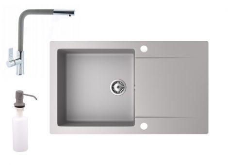 Gránit mosogató NERO Gold + kihúzható Linea csaptelep + adagoló (szürke)