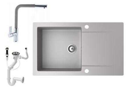 Gránit mosogató NERO Gold + kihúzható Linea csaptelep + dugókiemelő (szürke)