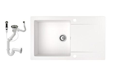 Gránit mosogató NERO Gold + dugókiemelő (fehér)