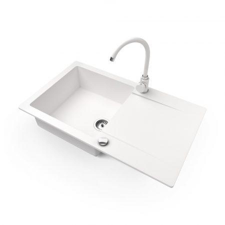Gránit mosogató NERO Gold + magasított csaptelep + dugókiemelő (fehér)