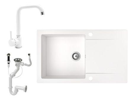 Gránit mosogató NERO Gold + Steel csaptelep + dugókiemelő (fehér)