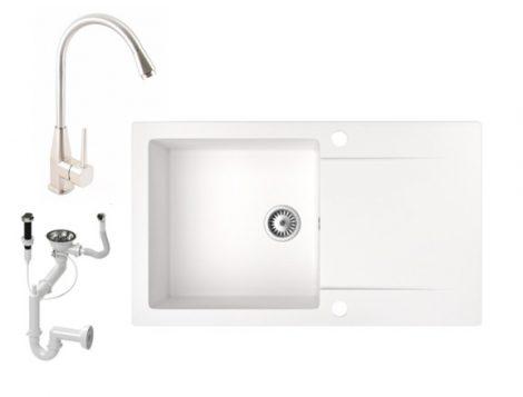 Gránit mosogató NERO Gold + magasított inox csaptelep + dugókiemelő (fehér)