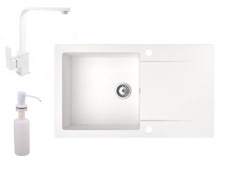 Gránit mosogató NERO Gold + Design csaptelep + adagoló (fehér)