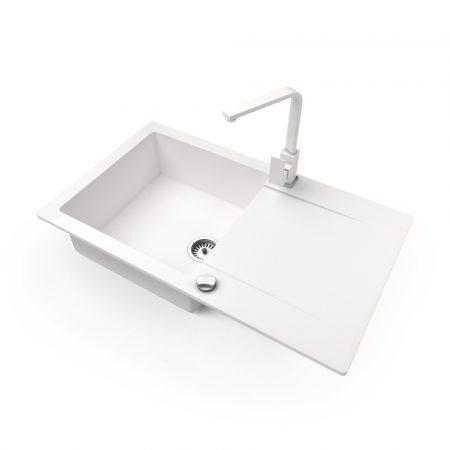Gránit mosogató NERO Gold + Design csaptelep + dugókiemelő (fehér)