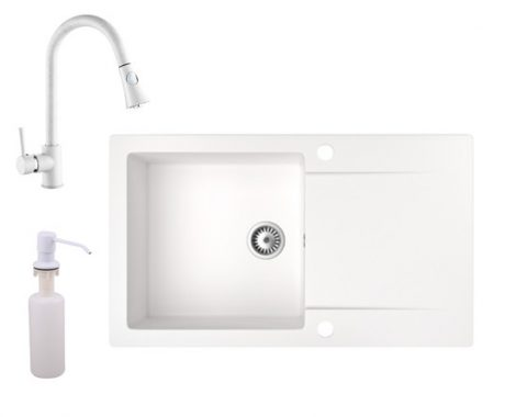 Gránit mosogató NERO Gold + kihúzható zuhanyfejes Snake csaptelep + adagoló (fehér)