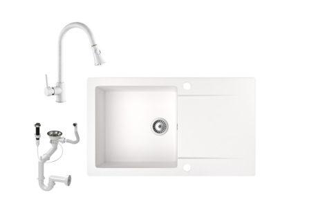 Gránit mosogató NERO Gold + kihúzható zuhanyfejes Snake csaptelep + dugókiemelő (fehér)