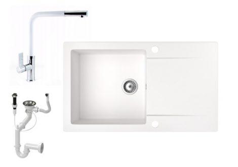 Gránit mosogató NERO Gold + kihúzható zuhanyfejes Linea csaptelep + dugókiemelő (fehér)