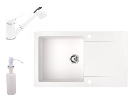 Gránit mosogató NERO Gold + kihúzható zuhanyfejes Shower csaptelep + adagoló (fehér)