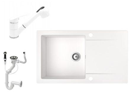 Gránit mosogató NERO Gold + kihúzható zuhanyfejes Shower csaptelep + dugókiemelő (fehér)