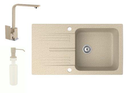Gránit mosogató NERO Malta + Design csaptelep + adagoló (bézs)