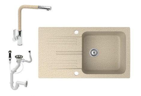 Gránit mosogató NERO Malta + kihúzható fejes Linea csaptelep + dugókiemelő (bézs)