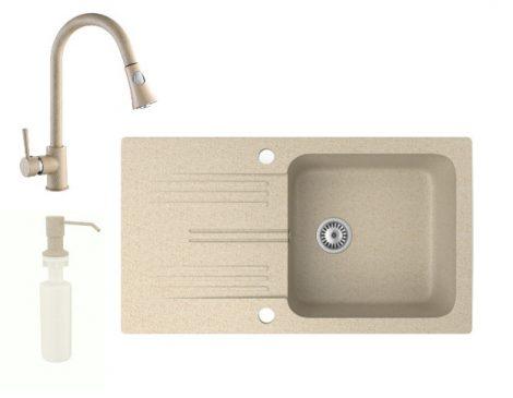 Gránit mosogató NERO Malta + kihúzható zuhanyfejes Snake csaptelep + adagoló (bézs)